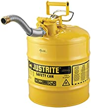 """Justrite 7250230 AccuFlow 5 Gallon, 11.75"""" OD x 17.50"""" H Galvanized Steel Type II Yellow Safety Can"""