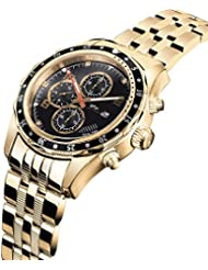 Daniel Steiger Alphagraph Mens Watch - 18k Gold Plated Stainless Steel - Diamond Indices And Multi-Function Dual...
