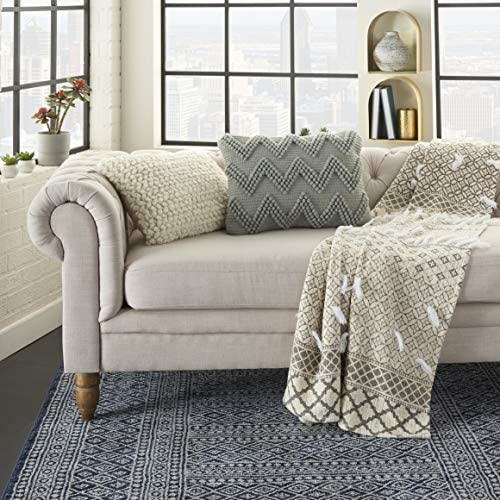 Mina Victory Nourison Casual Styles Large Light Throw Pillow 14 x 20 , 14 x20 , LT Grey