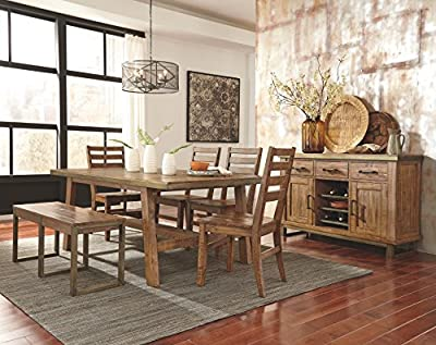 Ashley Furniture Signature Design - Dondie Dining Room Bench - Solid Pine Wood with Distressed Finish - Warm Brown