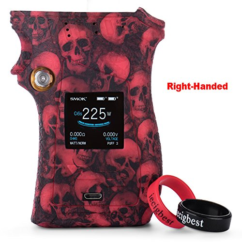 SMOK MAG 225W Mod Right Handed Case Cover Protective Silicone Case Skin Cover Sleeves for Right-Handed SMOK Mag 225W TC Box Mod (Skull Red) ()