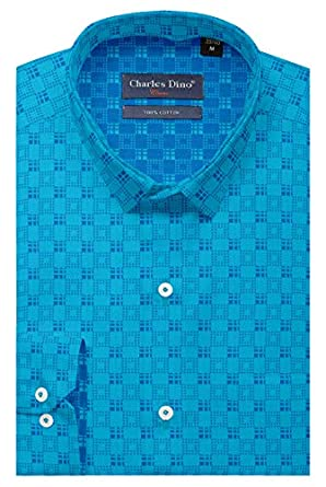 Mens 100% Cotton Regular FIT Turquoise Color Checkered Shirt