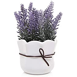 MyGift Artificial Lavender w/White Ceramic Pot/Decorative Faux Flower Planter, 7 Inch