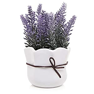 MyGift Artificial Lavender w/White Ceramic Pot/Decorative Faux Flower Planter, 7 Inch 7