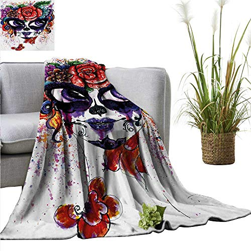 Sugar Skull Blanket Sheets Watercolor Painting Style Girl Face with Make Up and Floral Crown Big Eyes Home, Couch, Outdoor, Travel Use 54