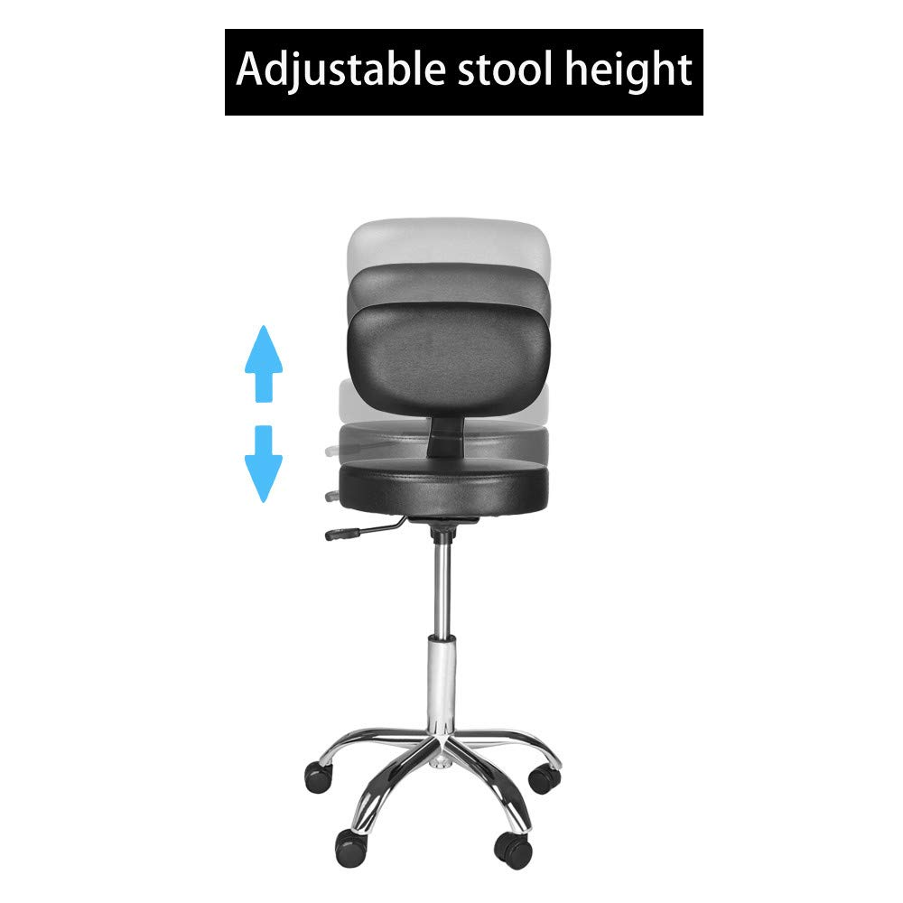 Sonmer Modern Simple Hydraulic Lift Round Office Chair, with Adjustable Backrest,360° Free Rotation,Pulley Aluminum Alloy Prong Base, Explosion-Proof Chassis by Sonmer (Image #4)