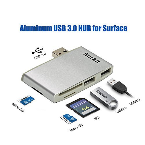 Aluminum Surface Pro Hub Adapter/Memory Card Reader, High Speed USB 3.0 Transfer and USB 2.0 for Mouse or Keyboard with SD(HC) Card Slot and TF Card Reader for Microfoft Surface Pro 3/4