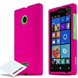 Microsoft Nokia Lumia 435 Case, [HOT PINK] Slim & Protective Rubberized Matte Finish Snap-on Hard Polycarbonate Plastic Case Cover + Free KarenDeals Microfiber Cloth...