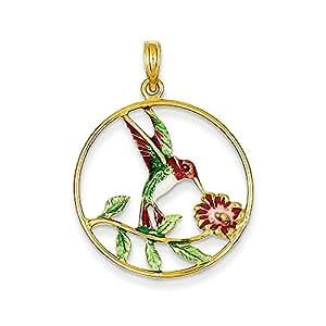 14K Enameled Hummingbird & Flower Round Frame Pendant -