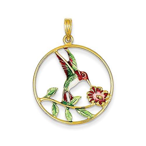 14k Yellow Gold Enameled Hummingbird and Flower Round Frame Pendant (23 x 31 - Polished Hummingbird Pendant