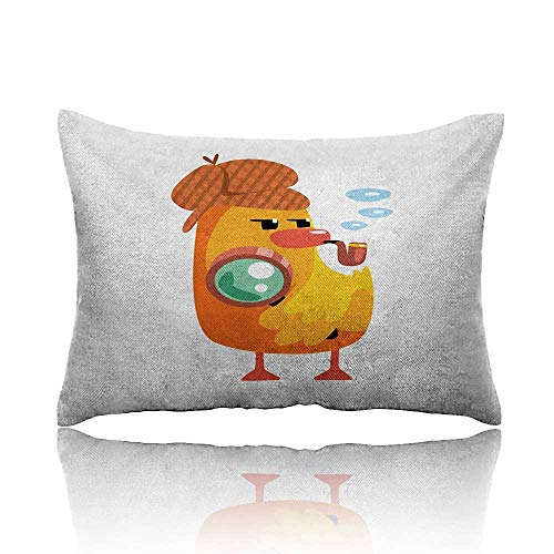 homehot Cartoon Cool Pillowcase Private Detective Duckling Character with a Magnifying Glass and Pipe Duck Sherlock Long Pillowcase ()
