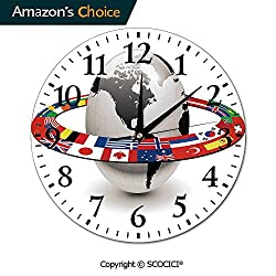 SCOCICI Custom Print Wall Clock - Earth Planet with Orbit Made from National Flags International Composi - for Decoration Round Wall Clock, 10 by 10-Inch