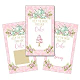 Personalized Bridal Shower Wedding Reception Scratch Off Game Cards Scratchers Watercolor Teapot Tea Party in Pink and Mint Green SCB8035