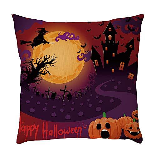 Connia Halloween Pillowcase, Cushion Home Car Bed Sofa Decor Pumpkin Cat Baby Bat Dog Printed Lumbar Pillow (K3, 45 X 45cm) for $<!--$1.09-->