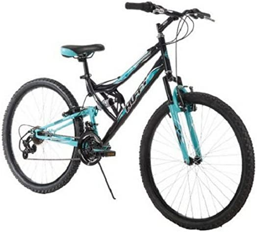 Huffy 26 Inch Women s Trail Runner Mountain Bike Dual Suspension Frame and Suspension Fork, Black