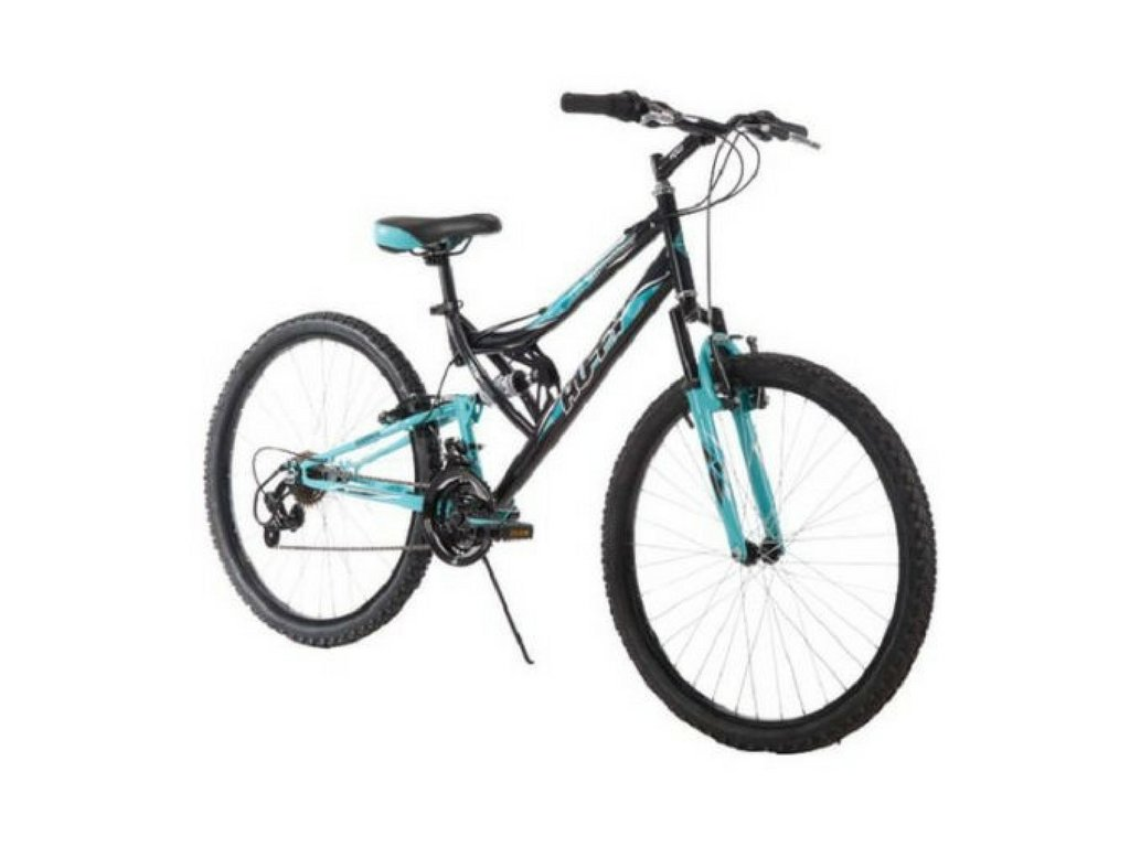 26 Inch Huffy Women's Trail Runner Mountain Bike Dual Suspension Frame and Suspension Fork, Black