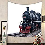 Madeleine Ellis Custom tapestry steam train on a white