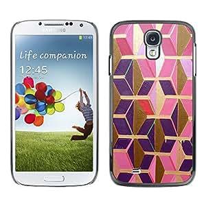 [Neutron-Star] Snap-on Series Teléfono Carcasa Funda Case Caso para Samsung Galaxy S4 [Or Rose pourpre Polygon 3D dimensionnelle]