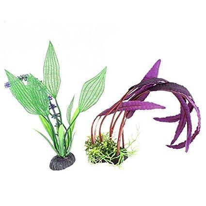 eDealMax peces de acuario tanque de agua Artificial planta de la hierba decoración 2pcs Verde Violeta