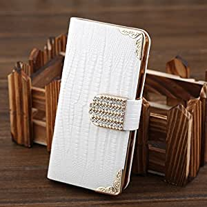 Birdnestoffice Fashionable PU Leather Crystal Flip Wallet Bling Case Cover for Samsung Galaxy S3 I9300 (White)