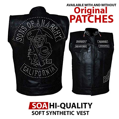 NMFashions Leather Anarchy Vest with Patches for Men Cyclist Style (Large, Hi-Quality Real Leather) -