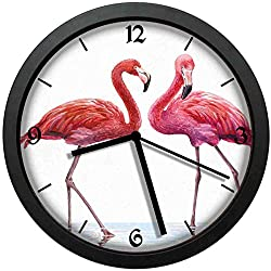 BCWAYGOD Colorful Pink Flamingo Wall Clock Nice for Gift or Office Home Unique Decorative Clock Wall Decor 10in with Frame
