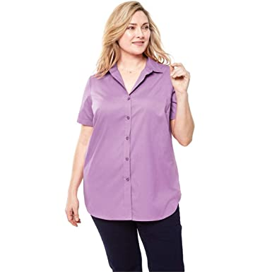 92be5bfc0e5 Woman Within Plus Size Perfect Short Sleeve Button Down Shirt - Amethyst