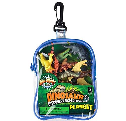 Rhode Island Novelty Realistic Dinosaur Playset: 12 Piece Toy Set in Clip Bag for Play on The GO!