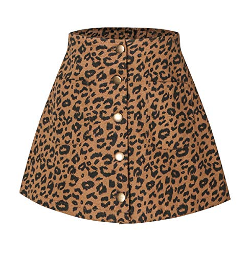 Ameyda Kids Girls' Button Front Skirt, Leopard Print A-Line Button Front Pencil Skirt for Toddler & Little Girls, Leopard, 5-6 Years = Tag 130