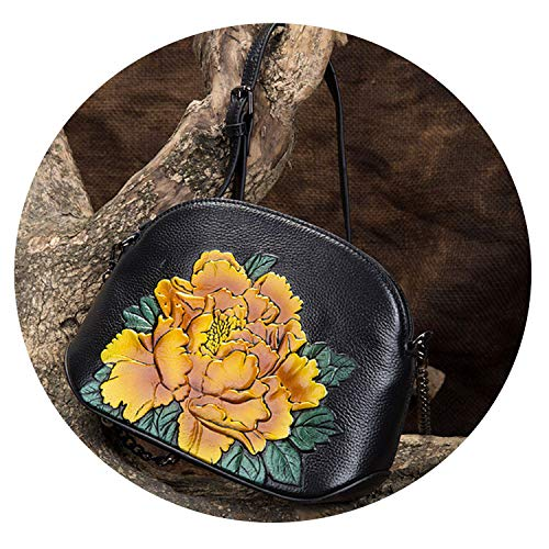 Genuine Leather Women Bags Crossbody Flowers Handbag Small Embossed Tote Purse Chinese Style Messenger Shoulder Bag,Yellow