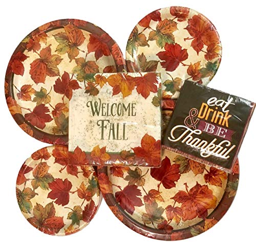 108 Piece Welcome Fall Paper Plates and Napkins Decor Bundle - Autumn and Thanksgiving DecorationDisposable Tableware Party Supplies Set ()