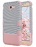 Galaxy J7 V Case, Galaxy J7 Perx Case, Galaxy J7 Sky Pro Case, ULAK Anti Slip Dust Scratch Shock Resistance Protective Cover for Samsung Galaxy J7 V (2017) (Rose Gold Stripes)