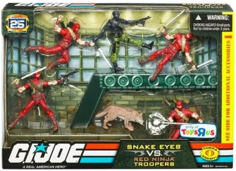 GI Joe Exclusive Action Figure Troop Builders Set Snake Eyes Vs. Red Ninja Troopers