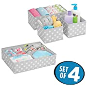 mDesign Soft Fabric Dresser Drawer and Closet Storage Organizer Set for Child/Kids Room, Nursery - Includes Large and Small Organizers - Polka Dot Pattern, Set of 4, Light Gray with White Dots