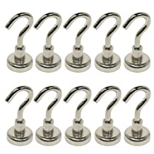 BIGTEDDY - 10pcs D16 16mm Neodymium Magnets Magnetic Hanging Hooks for Fridge Indoor / Outdoor Use with Box