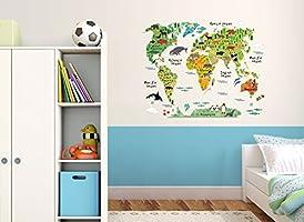 Wandaro w3321 Pared Adhesivo Mapa del Mundo Animales I 95 x 73 cm ...
