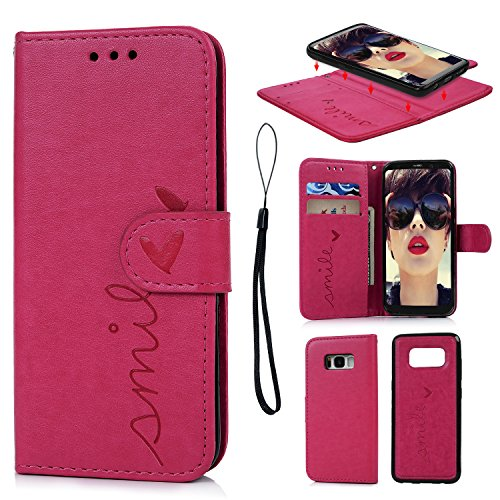 Galaxy S8 Case, S8 Case Embossed Love PU Leather Case TPU Shock Bumper Detachable Magnetic Wallet Case with Slot Wallet Wrist Strap Cover for Samsung Galaxy S8 (Hot Pink)