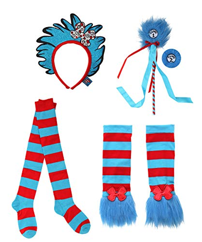 Thing 1 And 2 Costumes For Adults (elope Dr. Seuss Thing 1&2 Glovettes, Socks, Headband, and Pom Wand Kit)