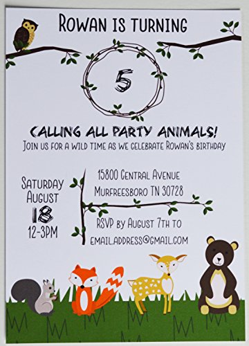 Woodland Animal Birthday Invitations - 10 custom printed invites