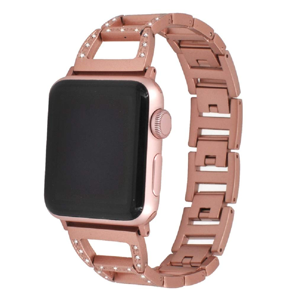 Juzzhou Watch Band For Apple Watch iWatch Series 1/2/3 Sport Edition Stainless Steel Replacement Wriststrap Watchband Wristband Bracelet Wrist Strap With Buckle Metal Adapter For Women Girl Pink 38mm