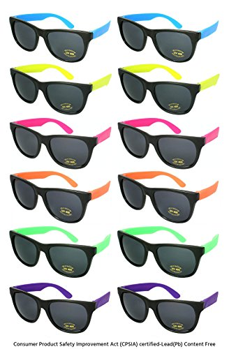 Edge I-Wear 12 Pack Neon Party Sunglasses with UV 400 Lens 5402R-SET-12 (Made in Taiwan/CPSIA - Wayfarer Sunglasses Cheap