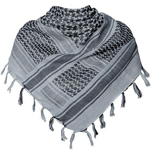 Military Shemagh Tactical Desert 100% Cotton Keffiyeh Scarf Wrap (N-dark -