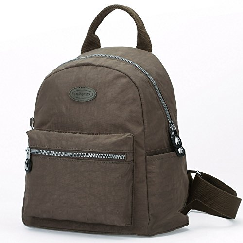 ni Casual Travel Daypack Backpack Purse (Small Light Brown Metal Zippers) ()
