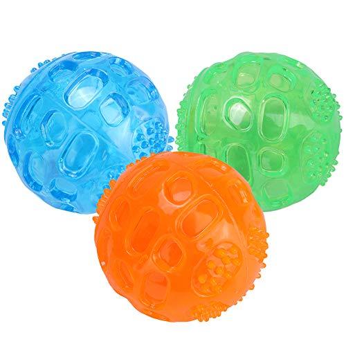 3 Stücke Hundespielzeug Quietschball Spielzeug für Hunde Unzerstörbar Hunde Bälle Hundespielball aus Naturkautschuk…