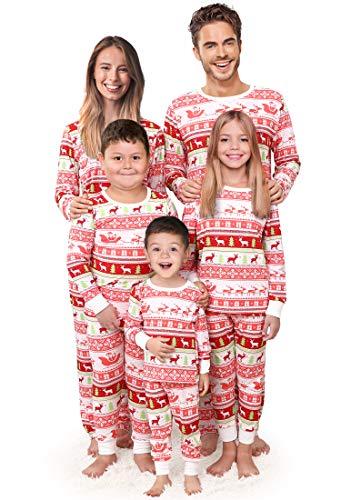 Rnxrbb Holiday Christmas Family Pajamas Set Xmas Pjs Matching Men,Women,Kid Santa Reindeer Warm Sleepwear Classic,Men,XL (Best Christmas Pajamas 2019)