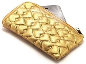 """""""Miss"""" Dorado, Lujosa Billetera / Sostenedor en imitación de cuero acolchonado y con cierre para i-mobile 638CG. Auténtica Funda / Estuche con correa para transportar para teléfonos móviles."""