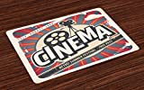 Ambesonne Vintage Place Mats Set of 4, Retro Cinema Movie Vintage Paper Texture Hollywood Stars Theme Image Print, Washable Fabric Placemats for Dining Room Kitchen Table Decor, Ecru Brown Red Gray