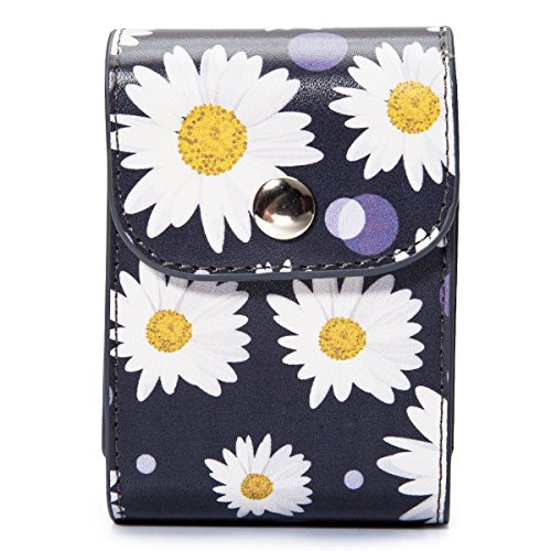 Woodmin PU Leather Instax Film Case Photo Pouch Storage Bag for 3 Inches Photos, Films and Fujifilm Instax Mini Close-up Lens (Daisy)