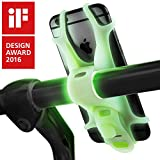 Universal Bike Phone Holder, Bicycle Handlebar Stroller Mount iPhone 8 Plus 7 6S, Samsung Galaxy S8 S7 Note 6, Any 4 to 6 inch Cell Phone Android Smartphone - Glow in The Dark/Luminous Green
