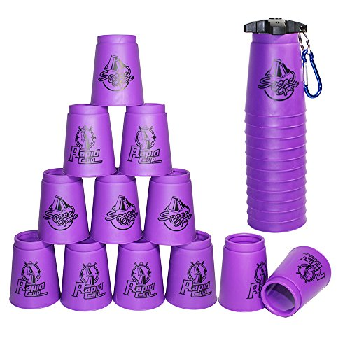 Amhii Quick Stack Cups Set of 12 with Quick Release Stem - Sports Stacking Cups Speed Training (Purple-Generation 3)
